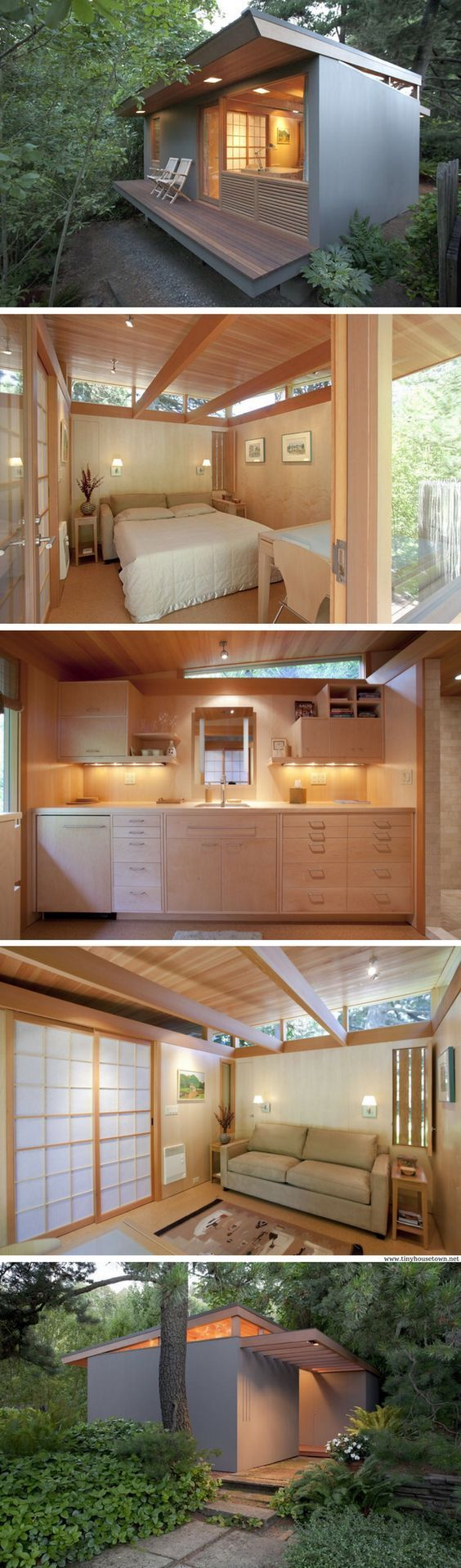 The Teahouse, Oregon, tiny house, (236 sq ft). Designed and converted from an old shed by architect, Pietro Belluschi in 1947, restored 2011 by Antony Belluschi.