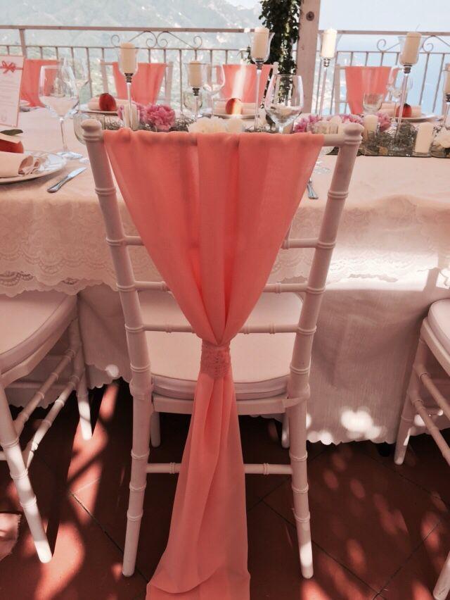 White chair with peach covers , Wedding Day, peach and white colors, Hotel Bonadies, ravello, Olga Studio, Sposa Mediterranea, Federica Wedding Planner