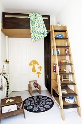Sopp wall stickers; custom loft bed, shelving and wardrobe