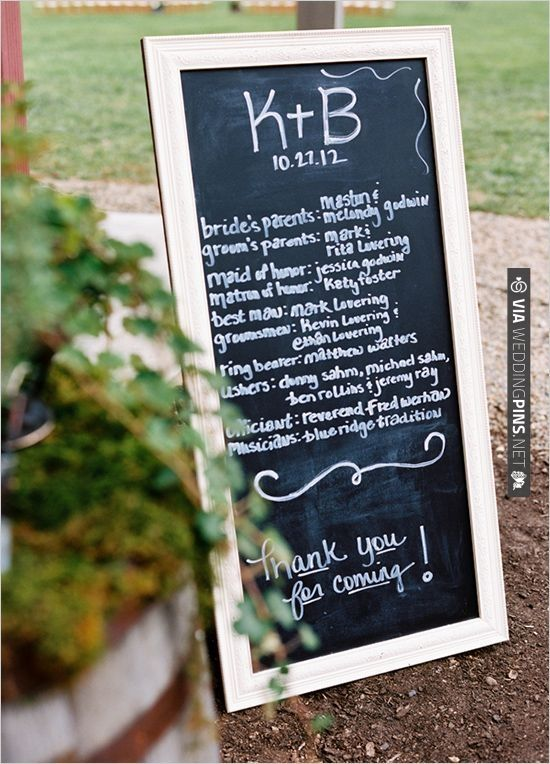 Chalkboard Wedding Sign Program Written On The Instead Of Individual Ones