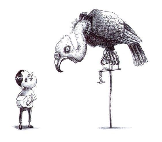 'The Bird Feeder'. Illustration by Chris Harrendence