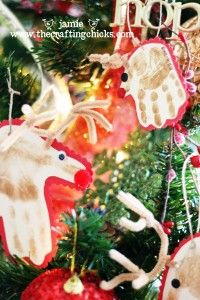 {Reindeer Hand Print Ornaments}
