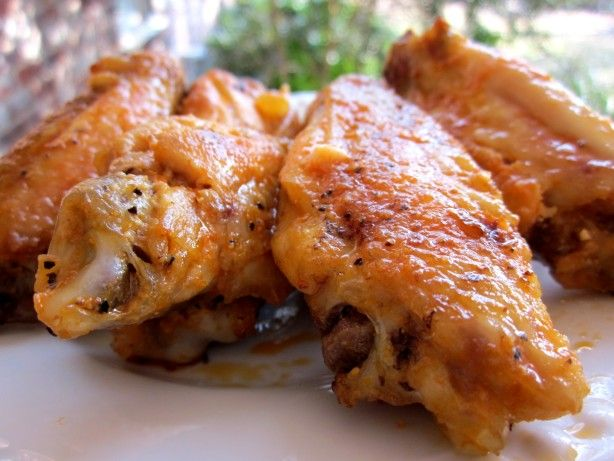 Garlic- Parmesan Buffalo Wings Recipe - Food.com - bake wings at 425F for an hour instead of frying.