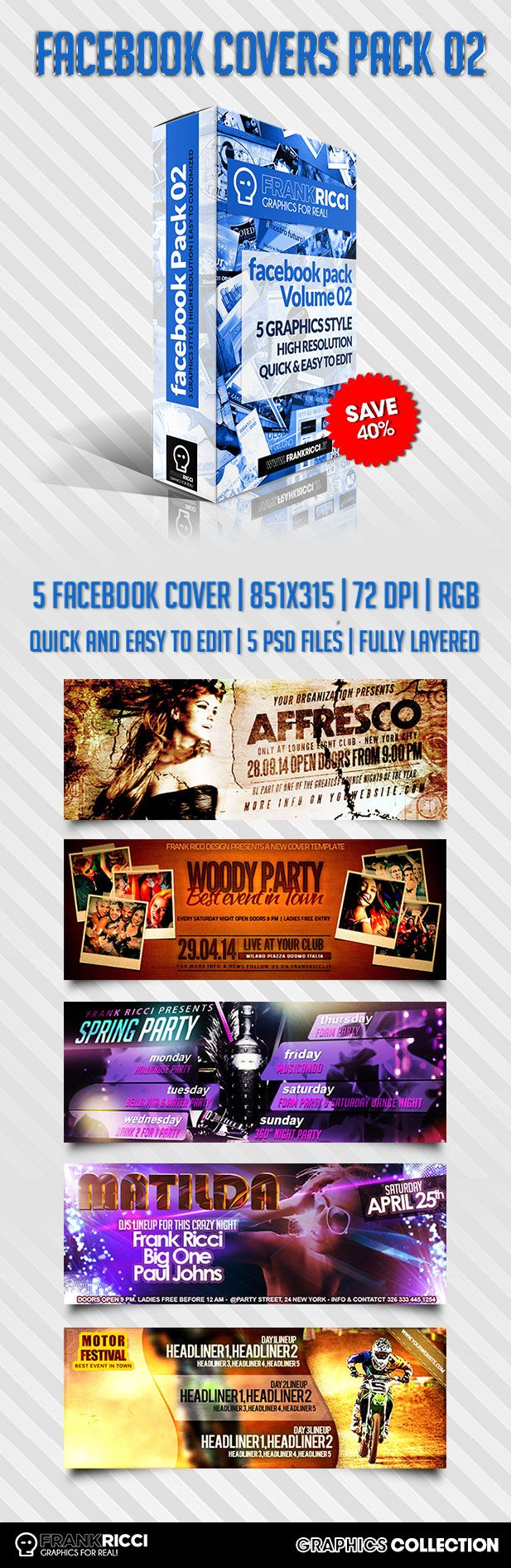 Cover Facebook Pack 02 Template - Available on http://frankricci.it/facebook-cover-pack-02/