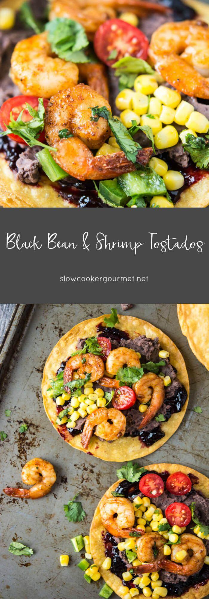 Black Bean and Shrimp Tostadas