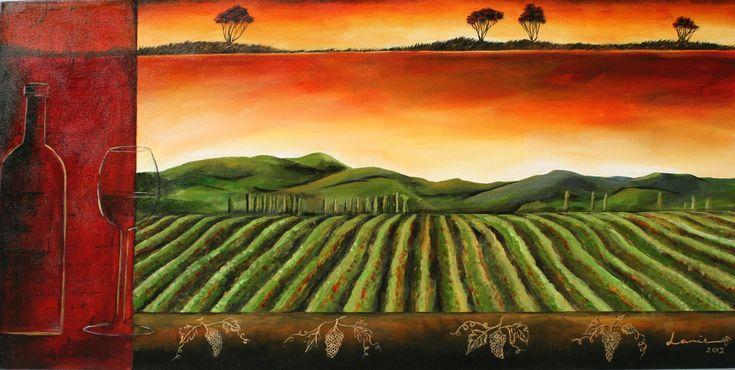 Art by Lanie Wilton. Gisborne NZ winery, landscape art.
