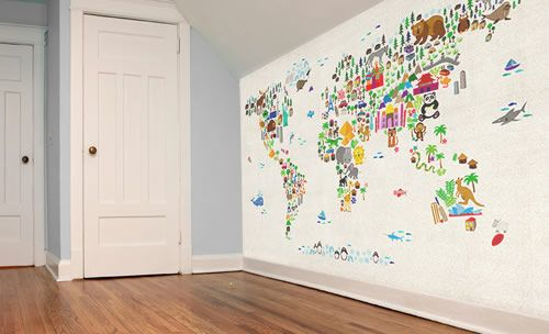 Kids Animal Map of the World Wallpaper