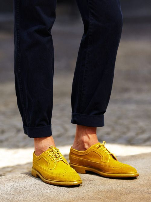 To catch ones eye this Yellow Brogues would work