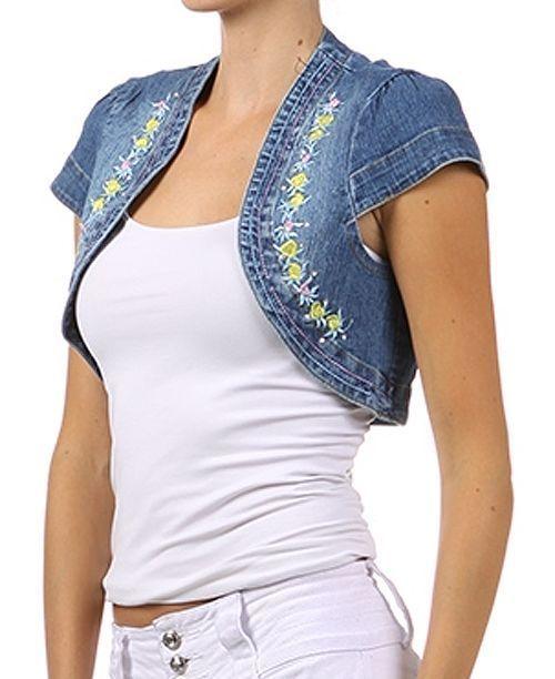 New Embroidered Denim Bolero Mini Jacket Embroidery Short Sleeve Fashion Central #BeMine #KnitTop #Casual