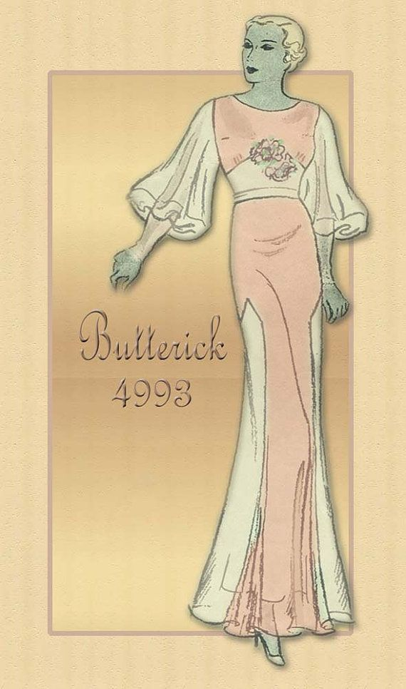 Butterick Pattern # 4993......Cocktail/Dinner Dress from the 1930s.  Think Greta Garbo.