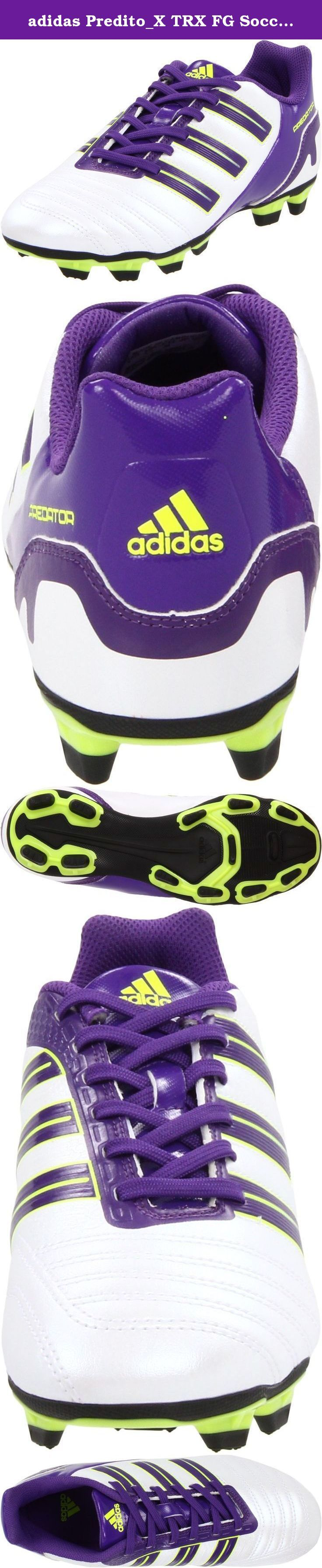 adidas Predito_X TRX FG Soccer Cleat (Toddler/Little Kid/Big Kid),Predator Running White/Sharp Purple/Electricity,2 M US Little Kid. Every touch is one step closer to football mastery in these durable, comfortable boots. Bring big value, great looks and adidas quality to your firm ground game. EVA insole for comfort. TRAXION FG for optimum grip and comfort on firm natural grass surfaces. TPU outsole. TRAXION.