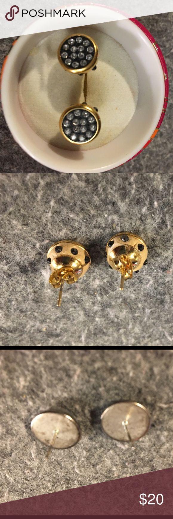 Gold pleated and Swarovski Elements Stud Earrings Handmade in Mexico. Gold pleated and Swarovski Elements Stud Earrings Jewelry Earrings