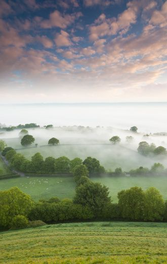 Summer sunrise from Glastonbury Tor