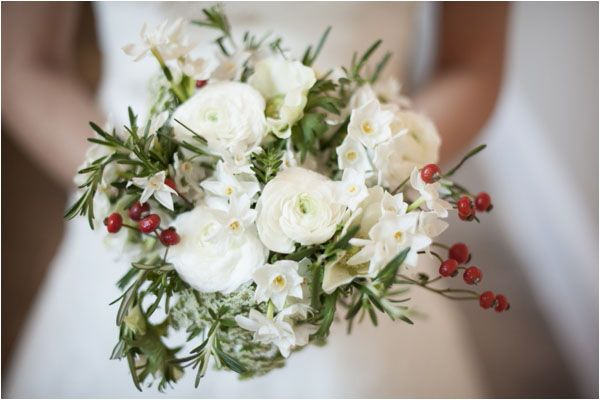 Bridal bouquet, white flowers with berries - A Winter's Tale - a warm winter wedding ideas shoot from Hampden House in Buckinghamshire