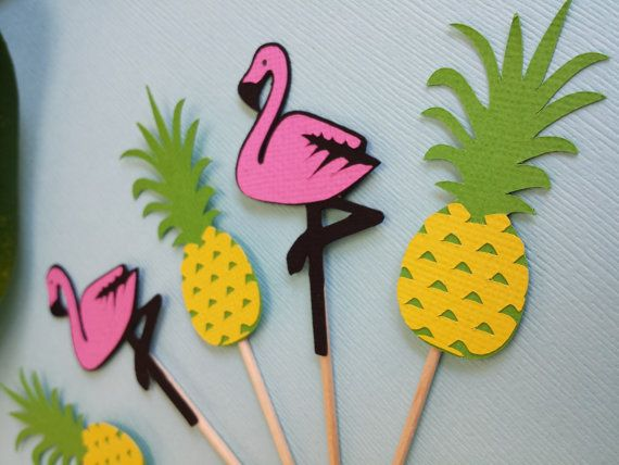 Flamingo and Pineapple Cupcake Toppers set of 12 - Pool Party Birthday Decorations -Party Like a Pineapple Bridal Shower Drink or Food Picks