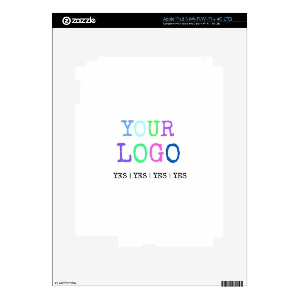 Design Your Own Custom Personalized Logo Skins For iPad 3 Custom Brandable Electronics Gifts for your buniness #electronics #logo #brand