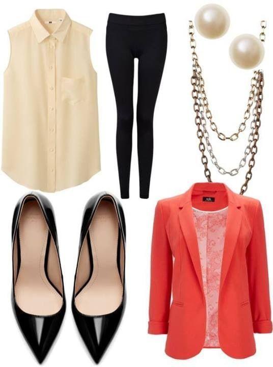 Black skinnys, pointed toe black pumps, white blouse, red/coral blazer/cardigan