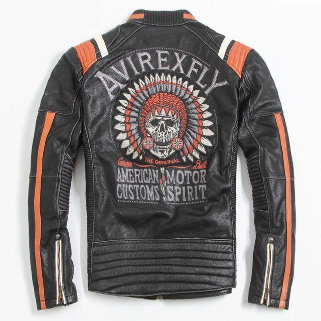 American Motorcycle Skull Embroidery Genuine Cowskin Leather Jacket Biker Coat Black Leather Motorcycle Jacket Vintage Leather Motorcycle Jacket