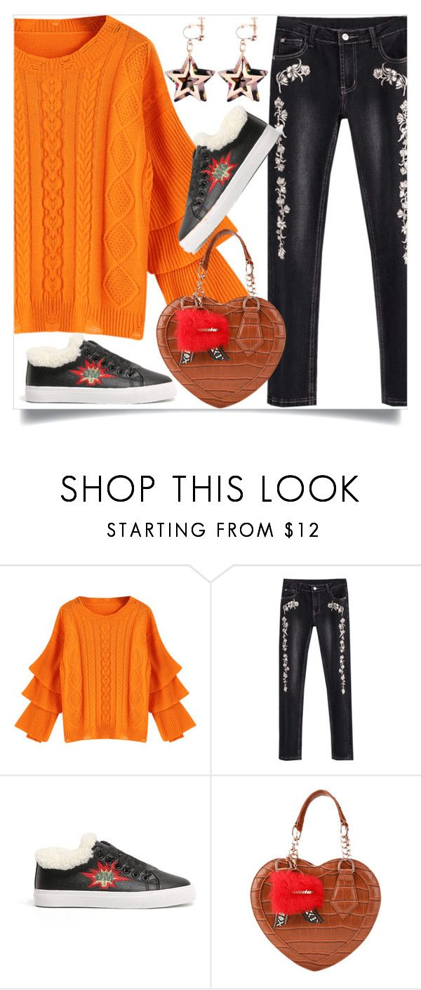 """""""Orange sweater"""" by dzenanlevic99 ❤ liked on Polyvore"""