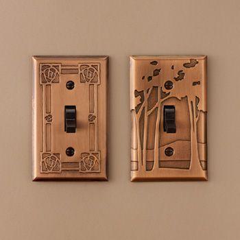 Frank Lloyd Wright   Landscape Copper Switchplate, Single