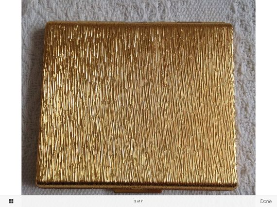 """Vintage Ladies Kigu Cigarette/Card Case. Luxury 'Bark"""" Effect.  Gorgeously Plain and Classy. Probably 1960's."""