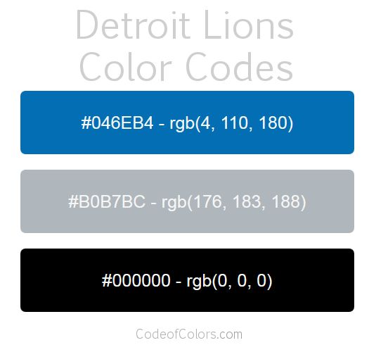 Detroit Lions Team Color Codes