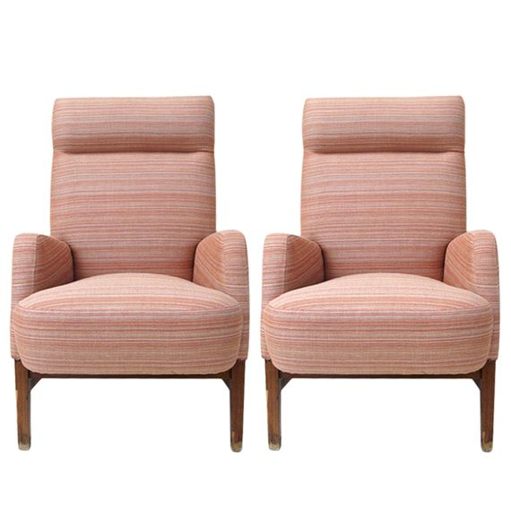 Pair Of 1958 Swedish High Back Armchairs