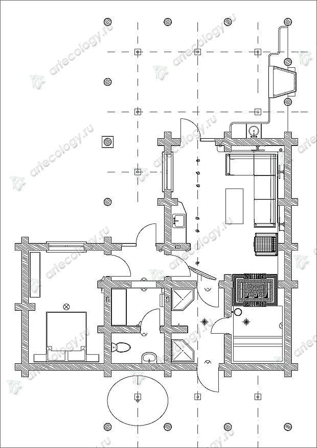 Комбинированный гостевой дом-баня макет