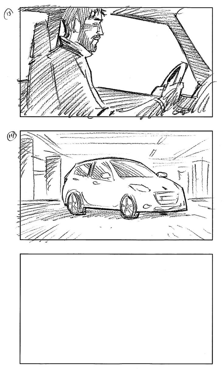 """""""It will haunt you until you embrace it"""" Storyboard, Peugeot 208 TV commercial. Pencil on paper. Director: Simon Ladefoged Producer: Entrance Film Agency: Brandhouse Storyboard: Comoll"""