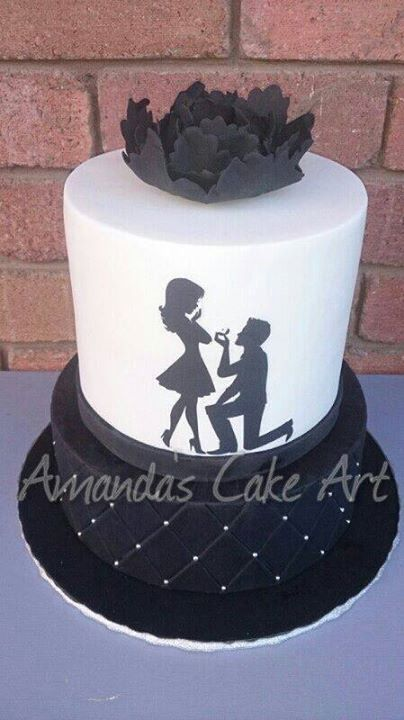 Silhouette Engagement cake so gorgeous!