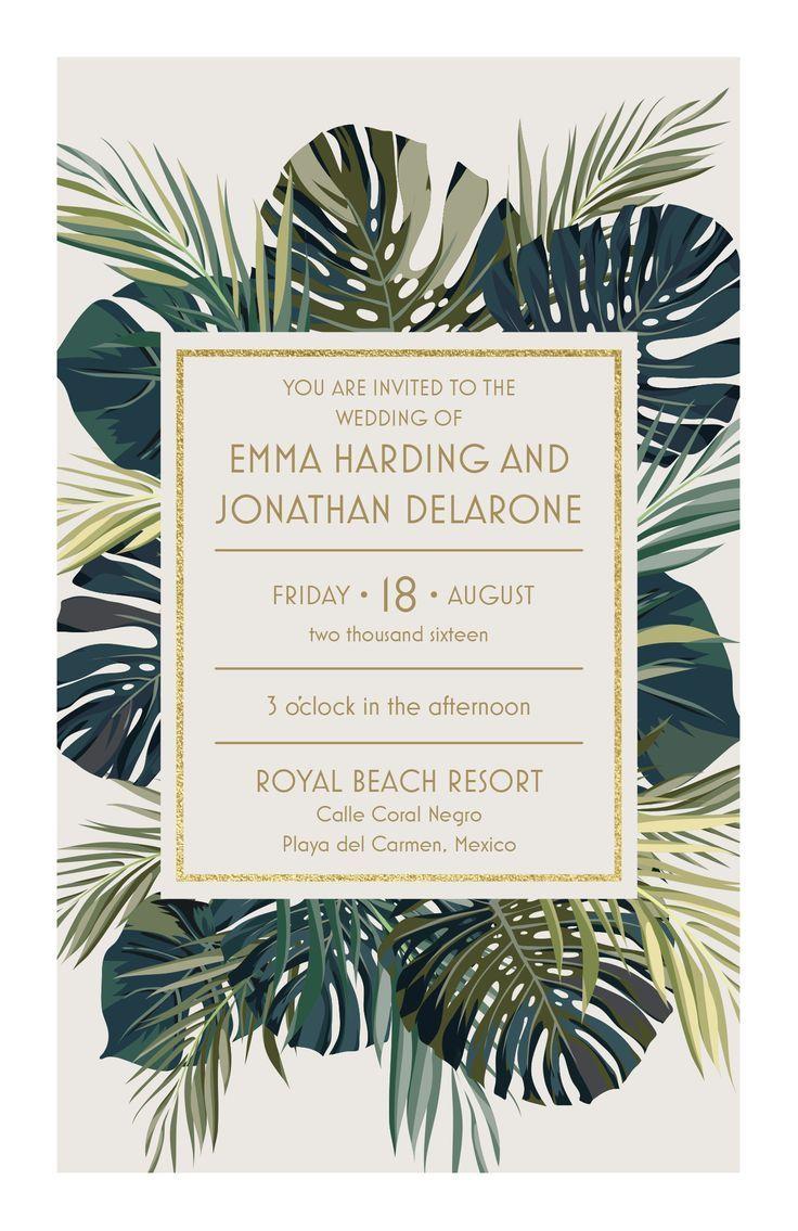 Palm Leaves Wedding Invitation   Destination Wedding Idea