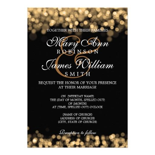 Elegant Wedding Gold Lights Custom Invitation #weddings