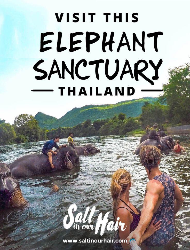 Visit this Elephant Sanctuary in Thailand  #asia #thailand #elephant #sanctuary #couple #backpack #backpacking #travel #visit #kanchanaburi
