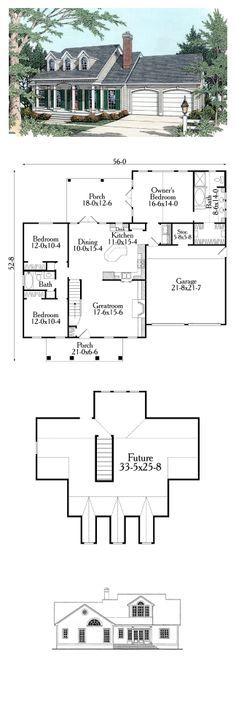 Cape Cod House Plan 40029 | Total Living Area: 1551 sq. ft., 3 bedrooms & 2 bathrooms. The kitchen features a wonderful angled snack bar, a desk and a large pantry. A wood-burning fireplace flanked by built-in cabinets are included in the greatroom. And, 684 square feet is available upstairs to expand in the future. #houseplan #capecodstyle