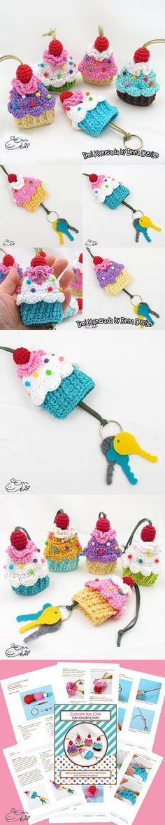 Cupcake Key Cozy Crochet Pattern. Funda para las llaves.