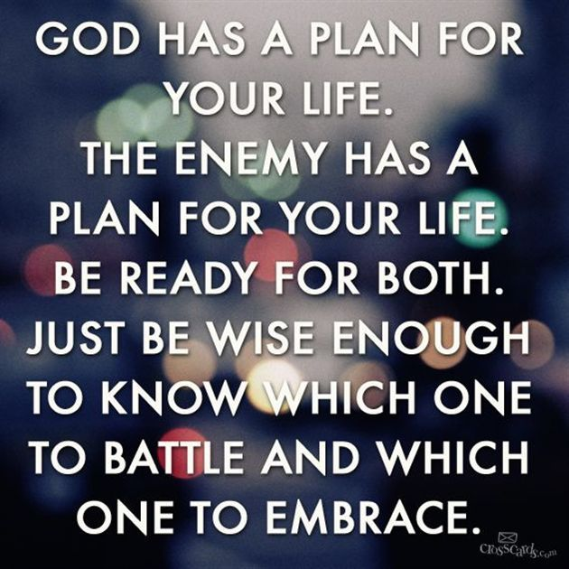 God Has a Plan for Your Life.  The Enemy Has a Plan for Your Life.  Be Ready for Both.  Just Be Wise Enough to Know Which One to Battle and Which One to Embrace. †