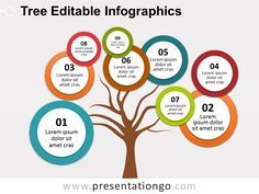 Free bubbles tree diagram for PowerPoint. Tree trunk with colored bubbles with…