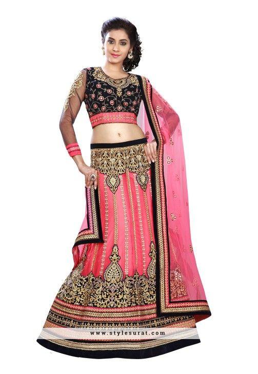 Fancy Velvet And Net Pink Color Designer Murmaid Cut Lehenga Choli