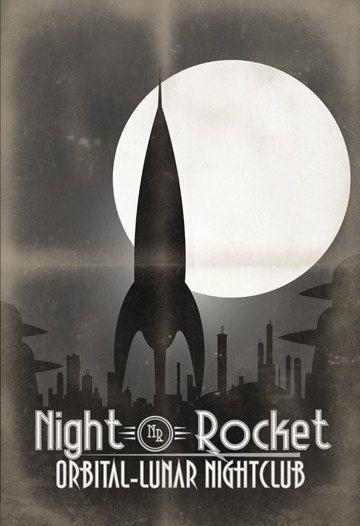 Retro Night Rocket Poster  13x19 Print by IndelibleInkWorkshop, $25.00