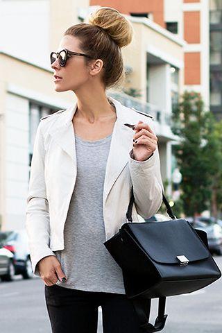 15c4e98b3123 Cream Leather Jacket with gray underneath - I like!
