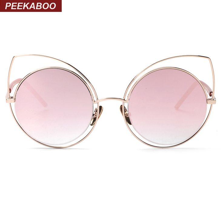 $9.59 (Buy here: https://alitems.com/g/1e8d114494ebda23ff8b16525dc3e8/?i=5&ulp=https%3A%2F%2Fwww.aliexpress.com%2Fitem%2FSexy-rose-gold-cat-eye-sunglasses-women-mirror-2016-high-quality-sunglasses-women-luxury-brand-metal%2F32641831804.html ) Peekaboo Sexy rose gold cat eye sunglasses women mirror 2016 high quality sunglasses women luxury brand metal frame gafas de sol for just $9.59