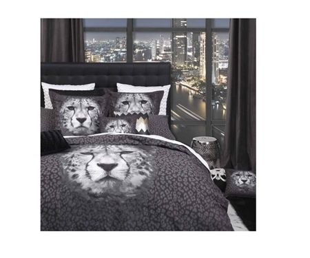 Logan & Mason Cheetah Graphite Quilt Cover Set - Double