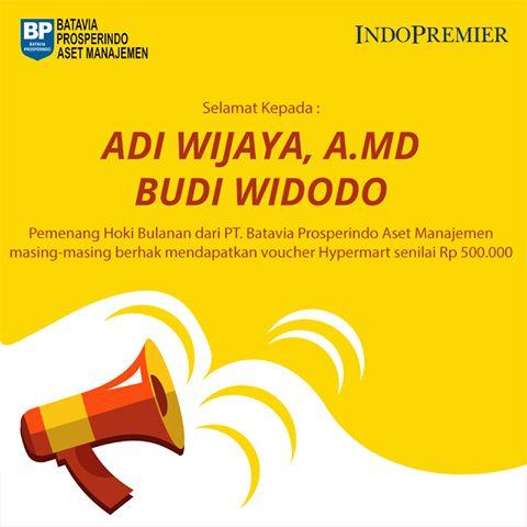 """Selamat kepada pemenang Hoki Bulanan dari PT. Batavia Prosperindo Aset Manajemen : """"Bapak Adi Wijaya, A.MD & Bapak Budi Widodo"""", masing-masing berhak mendapatkan voucher belanja Hypermart senilai Rp 500.000,-  Yuk ikutan promo Hoki Bulanan ini, pemenang akan mendapatkan voucher belanja, periode promo dari bulan Desember 2016.  https://www.indopremier.com/ipotfund/  #IndoPremier #IPOTFUND #Investasi #reksadana #investasiviachat #belireksadanaviachat #pertamadiindonesia"""