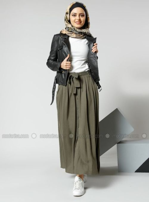 How to style the olive green outfits with hijab – Just Trendy Girls