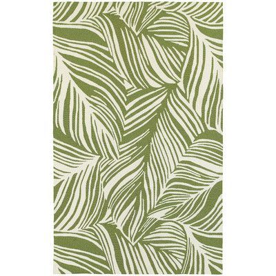 Found it at Wayfair - Atrium Tropical Leaf Green & Ivory Indoor/Outdoor Area Rug