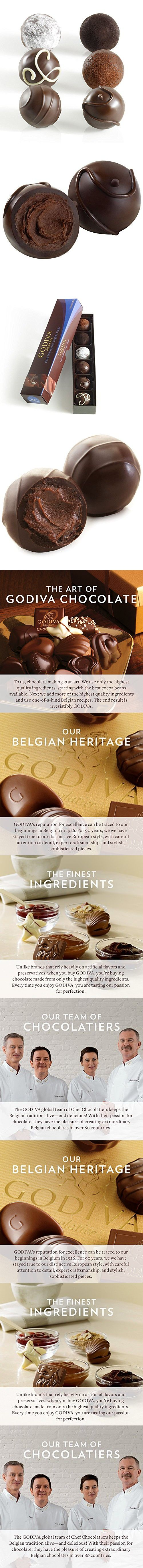 Godiva Chocolatier Flight Chocolate Truffle, Dark Decadence, 6 Count