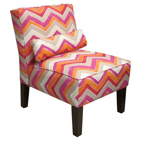 Pine wood accent chair with chevron-print upholstery and foam cushioning. Made in the USA. Product: ChairConstruction Mat...