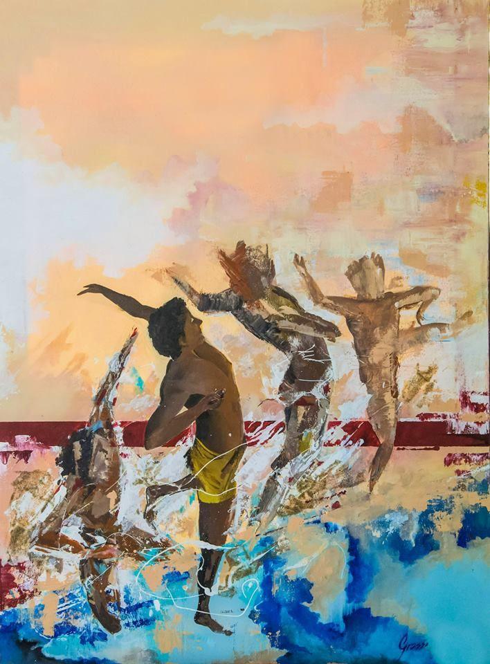Opera Pittorica: KINESIS.  Artista: Daniele Grasso.   80x60, acrilico , gesso e sabbia su tela, 2016.