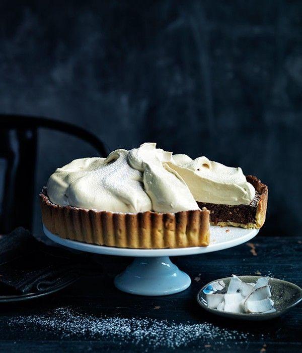 Chocolate Coconut Meringue Pie via Australian Gourmet Traveller Magazine, August 2013 #coconut #recipe