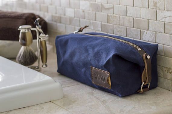 NO. 345 Personalized Men's Toiletry Bag Embossed Monogram Adjustable Straps Navy Blue Waxed Canvas and Leather Wedding Gift Best Man Gift